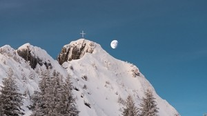 mountain, peak, snow, trees, moon, cross