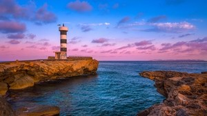 lighthouse, bay, sea, cliffs, dawn, spain