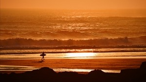 surfer, waves, sunset, ocean - wallpapers, picture